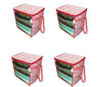 Ankit International R Patti_Box_AI_04 Red Patti Print 4 PeiceNon Woven Fabric Saree Cover/ Clothes Organiser For Wardrobe Set with Transparent Window, Extra Large, R Patti_Box_AI_04(Red)