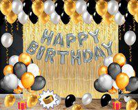 Party Station Solid Pack of 66 pcs Perfect Birthday Decoration kit - 1 Set of Silver Happy Birthday Foil Balloons + 2 pcs of Golden Shimmer/Curtain + 50 pcs of Black, Golden and Silver Shinny Metallic Balloons + 1 Golden ribbon Balloon(Black, Silver, Gold, Pack of 66)