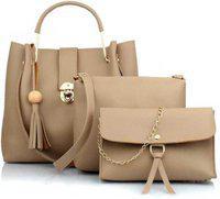 AL Amazing Women Grey Hand-held Bag(Pack of: 3)