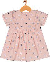 ShopperTree Girls Short/Mid Thigh Party Dress(Beige, Half Sleeve)