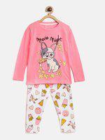 Lazy Shark Kids Nightwear Boys Printed Cotton Blend(Pink Pack of 1)