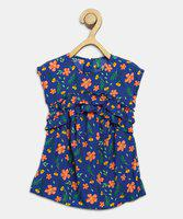 United Colors of Benetton Girls Midi/Knee Length Casual Dress(Blue, Cap Sleeve)