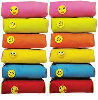 Prime Pencil Case SMILY Art Canvas Pencil Boxes(Set of 12, Multicolor)