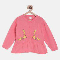 Mini Klub Embroidered Round Neck Casual Baby Girls Pink Sweater