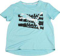 Puma Girls Printed Polyester T Shirt(Blue, Pack of 1)