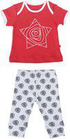 Cool Printed Cartoon Printed Baby Boy Girl Two Piece Clothing Set Full Length Tshirt Pant Set for Infant Toddler Kids