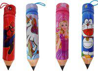 Fully Pencil Box cartoon Printed Art Polyester Pencil Boxes(Set of 12, Multicolor)