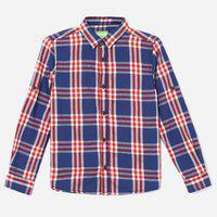 BOSSINI Boys Checkered Casual Blue Shirt
