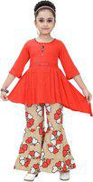 Arshia Fashions Girls Top and Palazzo Set GR410 Red