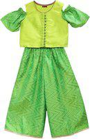 Twisha Girls Party(Festive) Top Pant(Light Green)