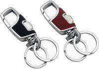 Raj Pack of 2-Metal Antique Keychain for Men Stylish Or Girls Double Key Ring Hook Keychain Holder for Bikes Car Keychains & for Gift (Multicolor) Key Chain