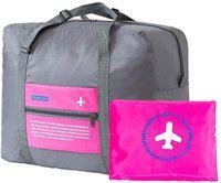 SUKHAD Large Folding Waterproof Luggage Packing Duffel Handbag, Travel Toiletry Kit(Pink)