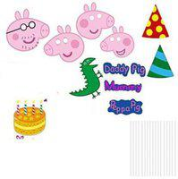 Anayatech Peepa pig Photobooth Props Birthday Decoration - Set of 10 Pieces Photo Booth Board(Party)
