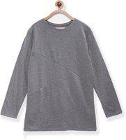 Eimoie Girls Self Design Cotton Jersey T Shirt(Grey, Pack of 1)