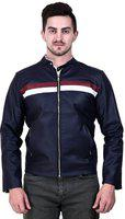 Girls Shopping Mens Winter Wear Faux Leather Jacket (X-Large, Navy Blue)