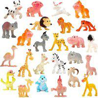 CocoRio Cartoon Animal, 24 Pack Mini Wild Animals Models Toys Set, Jungle Animal Figures Set for Children Boys & Girls Kids Party Favors Classrooms Rewards Birthday Gift Educational Toy(Multicolor)