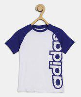 ADIDAS Boy's Printed Cotton Blend T Shirt(White, Pack of 1)