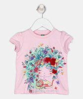 United Colors of Benetton Girls Casual Cotton Blend Top(Pink, Pack of 1)
