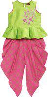 Twisha Girls Party(Festive) Top Dhoti Pant(Light Green)