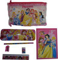 Funcart Princess STATIONERY KIT - NOTEBOOK,SHARPENER,RUBBER,2 PENCILS,METAL PENCIL BOX & RULER School Set