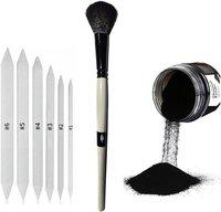 Definite Art White Paper Art Blending Stumps or Tortillon for Shading, Blending and Smudging (Pack of 6), Blending Foundation Brush and Pure Powdered Charcoal, Fine and Uniform Particles, Soft and Dark (90gm) ; Ideal Drawing Set for Students, Professionals, Artists