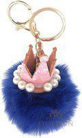 DORRON Crown Pom Pom Faux Fur Key Chain Ring for Girls Bags and Keys (Dark Blue) Key Chain