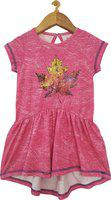 KiddoPanti Pink Cotton Short Sleeves Knee Length Winter Frock ( Pack of 1 )