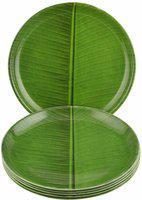 Dine With Us Microwave Safe Round Banana Leaf Print Green Melamine Quarter Plates Freezer Safe Set Of 6 Quarter Plate(6 Quarter Plate)