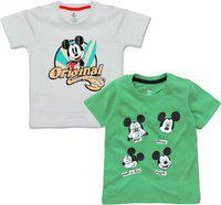 Disney Boys Graphic Print Pure Cotton T Shirt(Multicolor, Pack of 2)