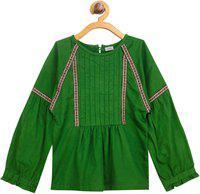 Shreem Kids Girls Solid Party Dark Green Shirt