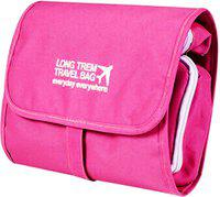 Kuber Industries Canvas Folding Hanging Cosmetic Makeup Travel Toiletry Bag Organizer kit with detachable pockets (Pink) -CTKTC39004 Travel Toiletry Kit(Pink)