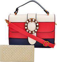 Mark & Keith Women Red, Blue, White Messenger Bag(Pack of: 2)