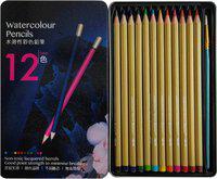 Definite Water Color Pencils with 1 Round Paint Brush In Metal Box Hexagonal Shaped Color Pencils(Set of 12, Black, Violet, Blue, Dark Blue, Green, Yellow, Tan, Brown, Red, Dark Green, Orange, Pink)