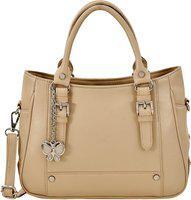 Butterflies Women Hand Bag With Wallet Combo (Cream) (BNS WB0739) (Set of 2)