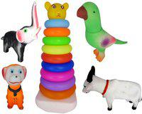 Skstore Stacking Teddy Rings with 4 pc soft toys ( Pack of 5 )(Multicolor)