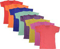 IndiWeaves Boys Solid Polycotton T Shirt(Multicolor, Pack of 8)