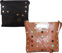 Element Cart Tan, Brown Sling Bag(Pack of 2)