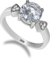 SUDIP G DESIGN Sterling Silver Swarovski Zirconia Silver Plated Ring