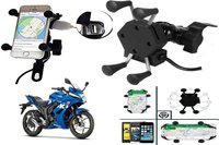 SHOP4U 2.1Amp. Fast Charger for Suzuki Gixxer 250 with Bike Mobile Holder(Black)