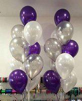 Evofinity Solid Purple, Silver & White Metallic Balloons Balloon(Purple, Silver, White, Pack of 25)
