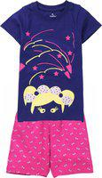 KiddoPanti Girl's Bow Girl Print Top & AOP Shorts Set, Navy Blue, 10-12Y