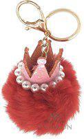 DORRON Crown Pom Pom Faux Fur Key Chain Ring for Girls Bags and Keys (Red) Key Chain