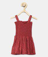 U.S. Polo Assn. Kids Girls Maxi/Full Length Casual Dress(Maroon, Sleeveless)