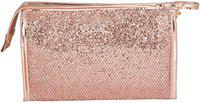 Uberlyfe Bling Bling Glitter Sequin multifunction Makeup Pouch Handy Cosmetic Pouch Perfect for Women and Girls- Rose Gold Cosmetic Bag