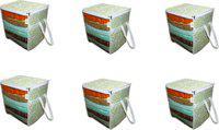 Ankit International G Patti_Box_AI_06 Green Patti Print 6 PeiceNon Woven Fabric Saree Cover/ Clothes Organiser For Wardrobe Set with Transparent Window, Extra Large, G Patti_Box_AI_06(Green)