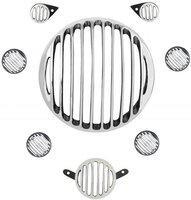 M Mod Con classic Metal Chrome bike headlight grill Bike Headlight Grill(Silver)