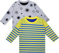 Luke and Lilly Boys Printed Cotton Jersey T Shirt(Multicolor, Pack of 2)