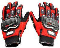 Probiker Synthetic Lather Motorcycle Full Hand Gloves (Blue- 1Pair) Driving Gloves(Red)