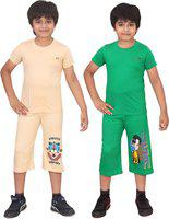 Dongli Kids Nightwear Boys Solid Cotton Blend(Multicolor Pack of 2)
