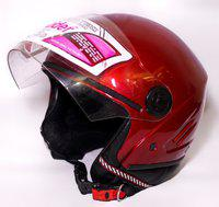 RIDER OPEN FACE NEW TECH CHERRY RED Motorbike Helmet(CHERRY RED)